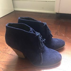 Sole Society blue suede booties, size 7